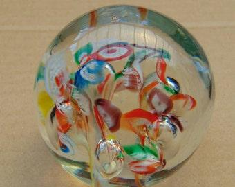 Art Glass Millefiore Glass Paperweight