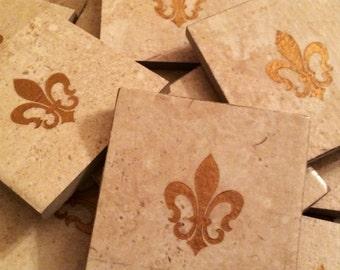 Set of 4 - Fleur de Lis Tile Coasters - Rustic