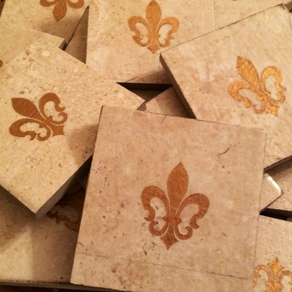 Set Of 4 Fleur De Lis Tile Coasters Rustic