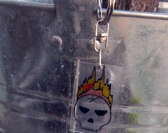 Flaming Skull Keychain Charm