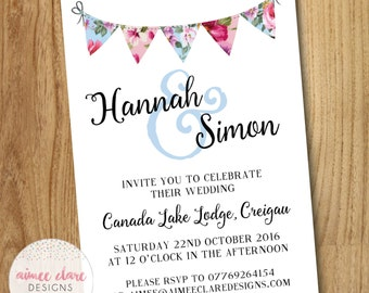 Vintage Bunting Wedding Invitation and RSVP
