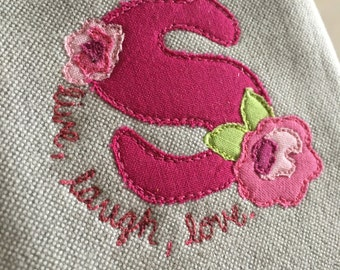 Monogrammed fabric phone case appliqued embroidered