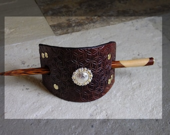 225 Medium, Brown LEATHER stick Barrette with gold tone studs and concho