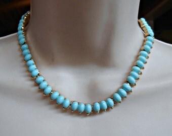 Trifari Blue Milk Glass Necklace, Robins Egg Blue