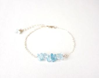 Handmade Aquamarine beads with 925 silver Bracelet, Something Blue