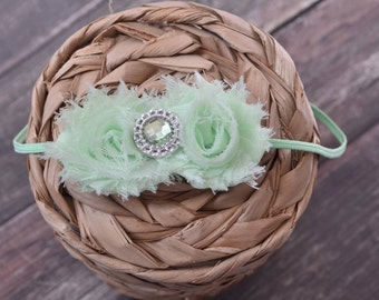 Mini Mint Shabby Headband