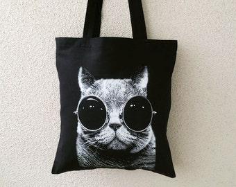 Jute/Stoffbeutel - Schwarz Katze mit Brille