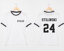 Stiles Stilinski Shirt Dylan O'Brien Shirts Women two sides Ringer Tee T-Shirt Size S M L XL - 3XL White with Black , Blue , Red