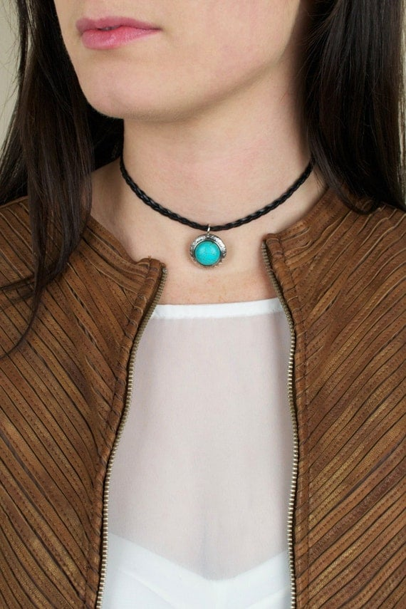 Braided Leather Moon Choker Necklace