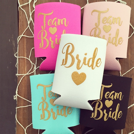Team Bride Drink Coolers | Bachelorette Party Drink Cooler Favors, Bachelorette Party Team Bride Favors, Beer Bottle Can Cooler, Pool Party