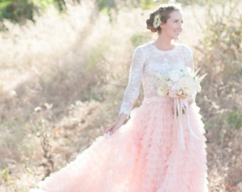 Tulle skirt wedding with ruffles designed for beach weddings, garden weddings, and engagement shoots, and galas - shown in peach/blush