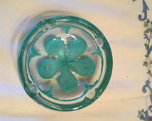 """Vintage Estate Mid Century Modern Green Italian Murano Art Glass Ashtray Decorated With Green Flower! 2.5"""" H x 5.5"""" W!!"""