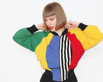 Vintage RARE + Collectable 1993 Franco MOSCHINO Cheap and Chic Colourful Panel Stripe and Polka Dot Bomber Jockey Jacket