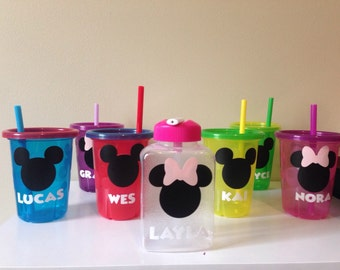 Customized Mickey Mouse Minnie Mouse Straw or  Sippy Cup Customizable