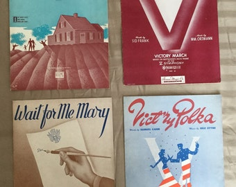 Military Related, 4 Titles, Pieces from World War II 1941 - 1943, Very Good Condition, Perfect for Framing, Vintage Sheet Music 15,
