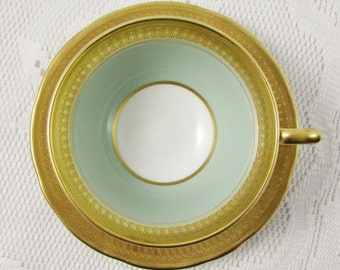 Aynsley Green and Gold Tea Cup and Saucer, Vintage Bone China