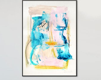 Large Abstract painting, Printable Abstract Art, Instant Download Art, Modern Art Prints, hand painted acrylic print, Peach and Aqua Prints