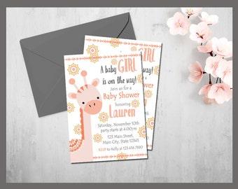 Giraffe Baby Shower Invitation, Baby Girl Giraffe Baby Shower, Jungle Safari Baby Shower, Pink Giraffe Baby Shower, PRINTABLE