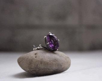 Branch Silver Ring with gemstone