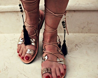 Metallic gold silver sandal- Ηandmade Leather Lace up sandal-Aphrodite