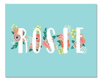 Rosie Personalized Name Sign Printable Art Printable Wall Art Birthday Party Decor Baby Name Sign Party Printable Party Decorations