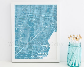 Coral Gables Map Coral Gables Art Coral Gables Map Art Coral Gables Print Coral Gables Printable Florida Art