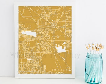 Crystal Lake Map Crystal Lake Art Crystal Lake Map Art Crystal Lake Print Crystal Lake Printable Illinois Art