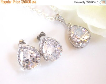 SALE Wedding Jewelry, Sterling Silver, Cubic Zirconia,  Wedding Gifts, Bridal Jewelry, Bridal Earrings and Necklace Set, Bridesmaids Gifts,