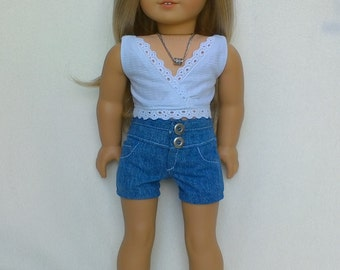 """Eyelet trimmed cropped top and blue denim high waist shorts for 18"""" dolls such as American Girl and My Imagination"""