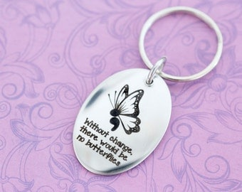 Inspirational Semicolon Project Butterfly Keychain - Semicolon Butterfly - My Story Isn't Over Yet ; - Engraved Keychain