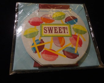 """Lollipop """"Sweet"""" Candy Jar Stationary Note Cards w/Envelopes Set of Six Blank - Thank You - Get Well - Best Wishes - Greeting - Friendship"""