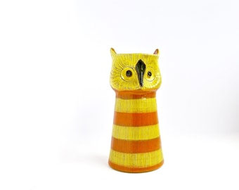Aldo Londi Bitossi Owl, Raymor Italian Ceramic Pottery, Rosenthal Netter Yellow Orange Made in Italy Animal,Midcentury Modern Bitossi Bird
