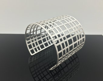 "Wide Silver Cage Cuff Bracelet // Matte Silver Finish // Size 7"" // Non Tarnishing E-Coat Finish"