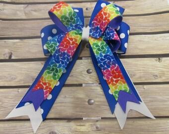 Rainbow Print Blue Polka Dot Stacked Tails down Hair Bow