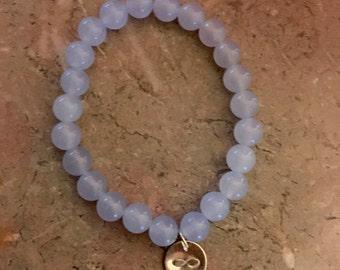 Infinity Charm Bracelet- Light Blue