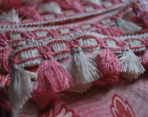 5.48 Mtrs of Gorgeous Vintage French Candy Pink & Cream Fan Fringed Passementerie Trim-Beautiful for Couture Sewing Projects