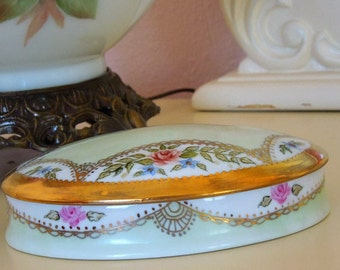 Jewelry, Candy, Trinkets or Miscellaneous uses ~ Porcelain Hand Painted oval container