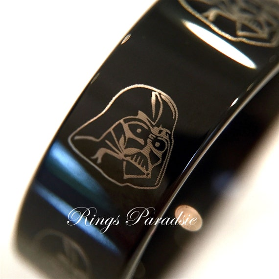 Star wars rings darth vader star wars black tungsten engraved for Star wars mens wedding ring
