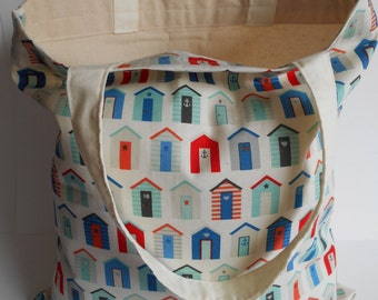 Holiday themed - lined beach hut print tote bag