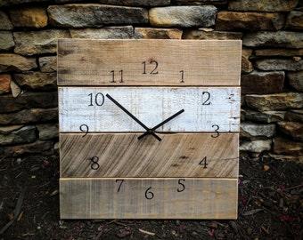 """Reclaimed Wood Clock - """"Half Time"""" (14"""" x 14"""") - Pallet Wood - Repurposed"""