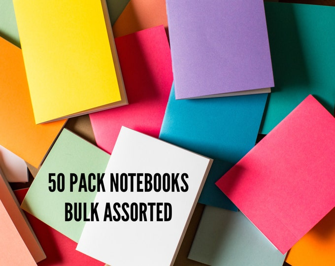 Bulk Notebooks 50 Pack journal Handmade Pocket Journals, Mini Diaries, Jotters, Blank Books, Business notebooks, FREE U.S. SHIPPING