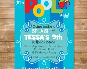 Pool Party Invitation, Kids Pool Birthday Invite, Swimming Party, Waterpark Party, Digital File, Printable, Personalized, Kids Birthday Pool
