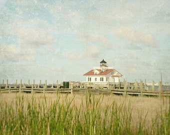 Coastal Decor, Landscape Photography, Beach Decor, Lighthouse Photo, Outer Banks, Fine Art Print, Marshes Light, Manteo, Fine Art Print