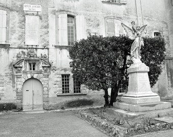 Black and White Europe Photography, French Village, Provence France, French country, European Decor, Travel photo, Fine Art Print, Wall Art