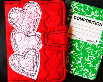 Note book, Stylish Quilted reusable mini notebook and cover, small journal, heart applique notebook, mini composition book,  friendship gift
