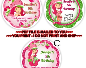 YOU PRINT- Strawberry Shortcake Thank you stickers, Strawberry Shortcake Cupcake Toppers, Strawberry Shortcake labels, gift tags  - BIRTHF7
