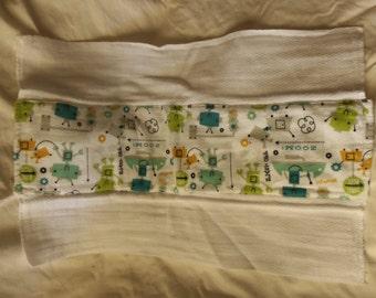 Burp Cloth, Flannel Print, 100% Cotton, Robots, Ready to Ship