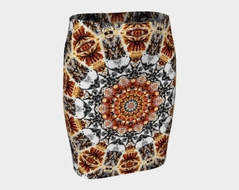 Miss Brown Eyes  Fitted Skirt  Brown Black White A-Line S-M-L-XL Abstract Wearable Art/A-Line/Clothing/Clothes/Women/Ladies/Skirts/Fashion