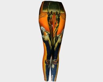 DALI  Leggings  Famous Artist-Salvador-Surrealism-Painting-Wearable Art-Women-Ladies-Teen-Pants-Clothing-Clothes-Hand Sewn  XS S M L XL