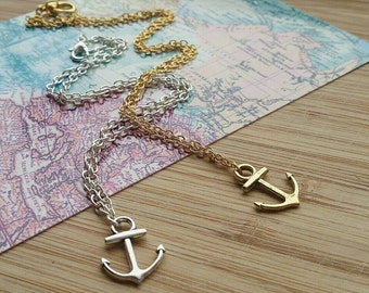 Nautical Anchor Necklace - Nautical Jewellery, Silver Jewelry, Gold Jewelry, Gold Anchor, Silver Anchor, Charm Necklace